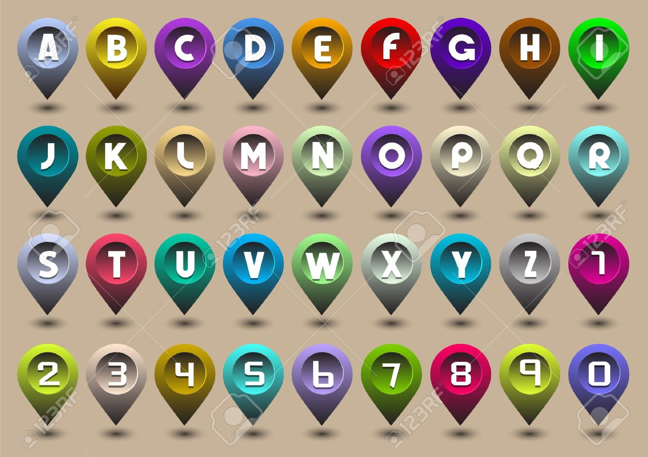 Colorful alphabet letters and numbers in the form of GPS icons Stock Vector - 13123610