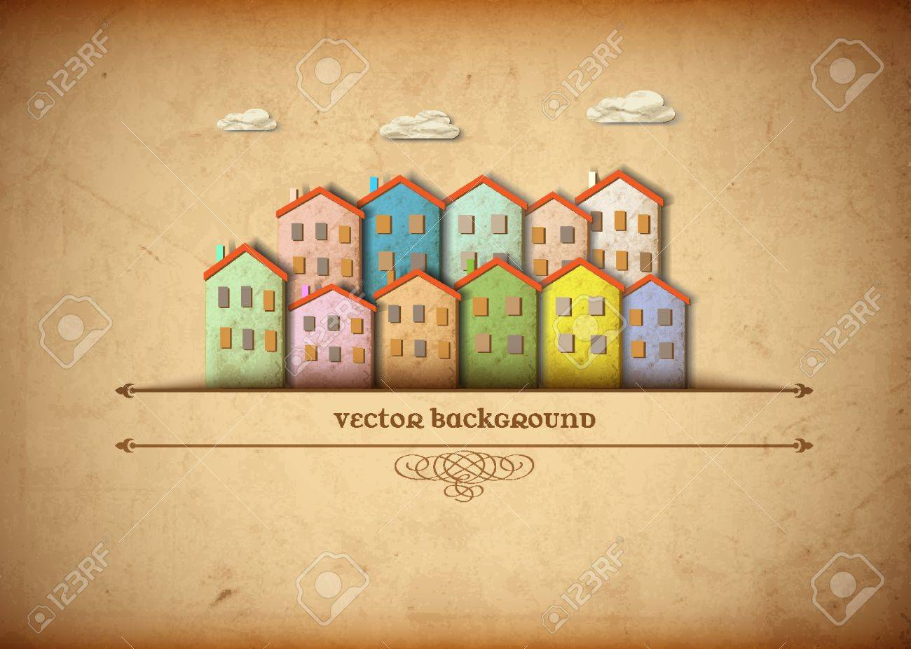 Little town made from old paper Stock Vector - 13123614
