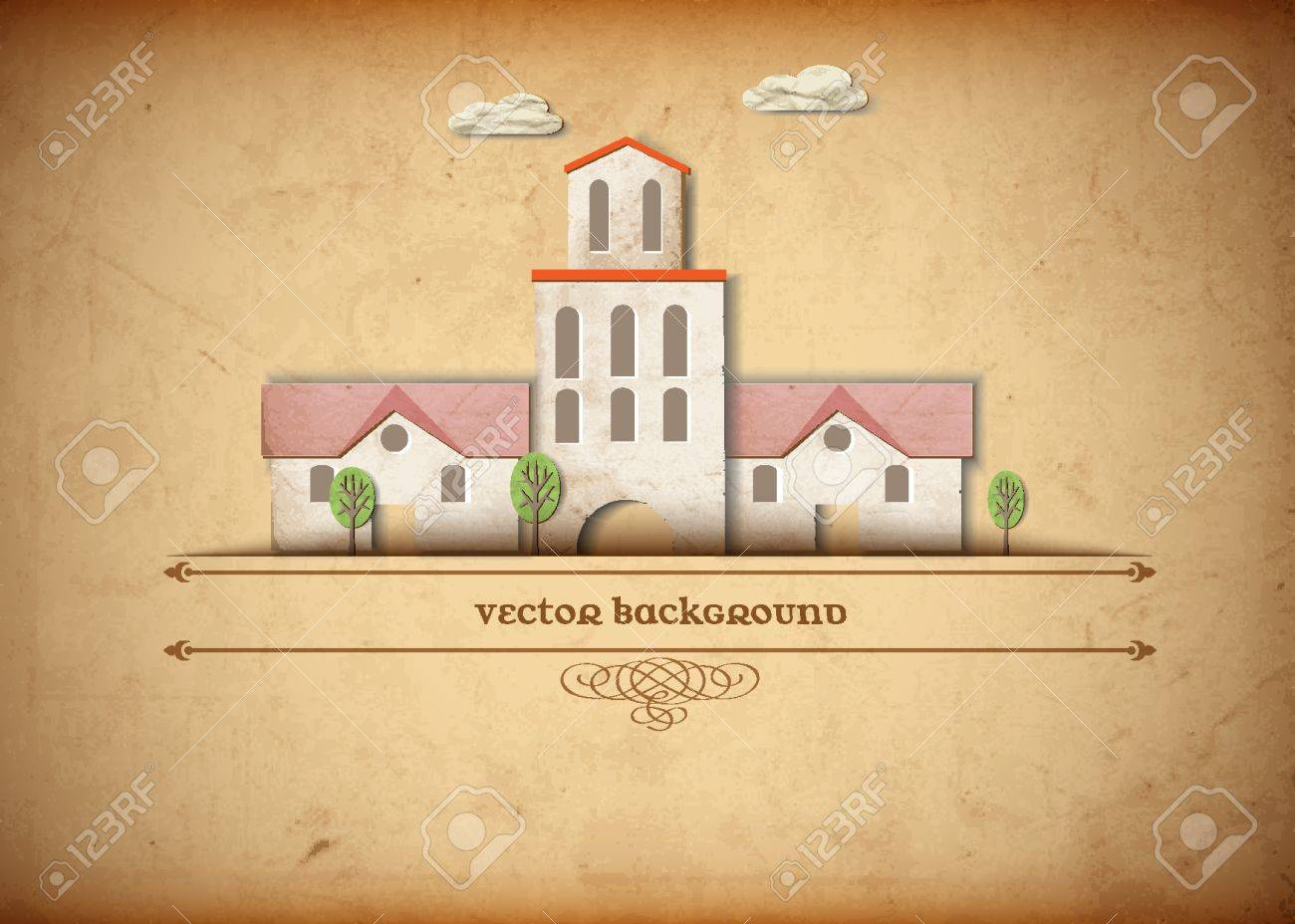 Medieval church made from old paper Stock Vector - 13123615