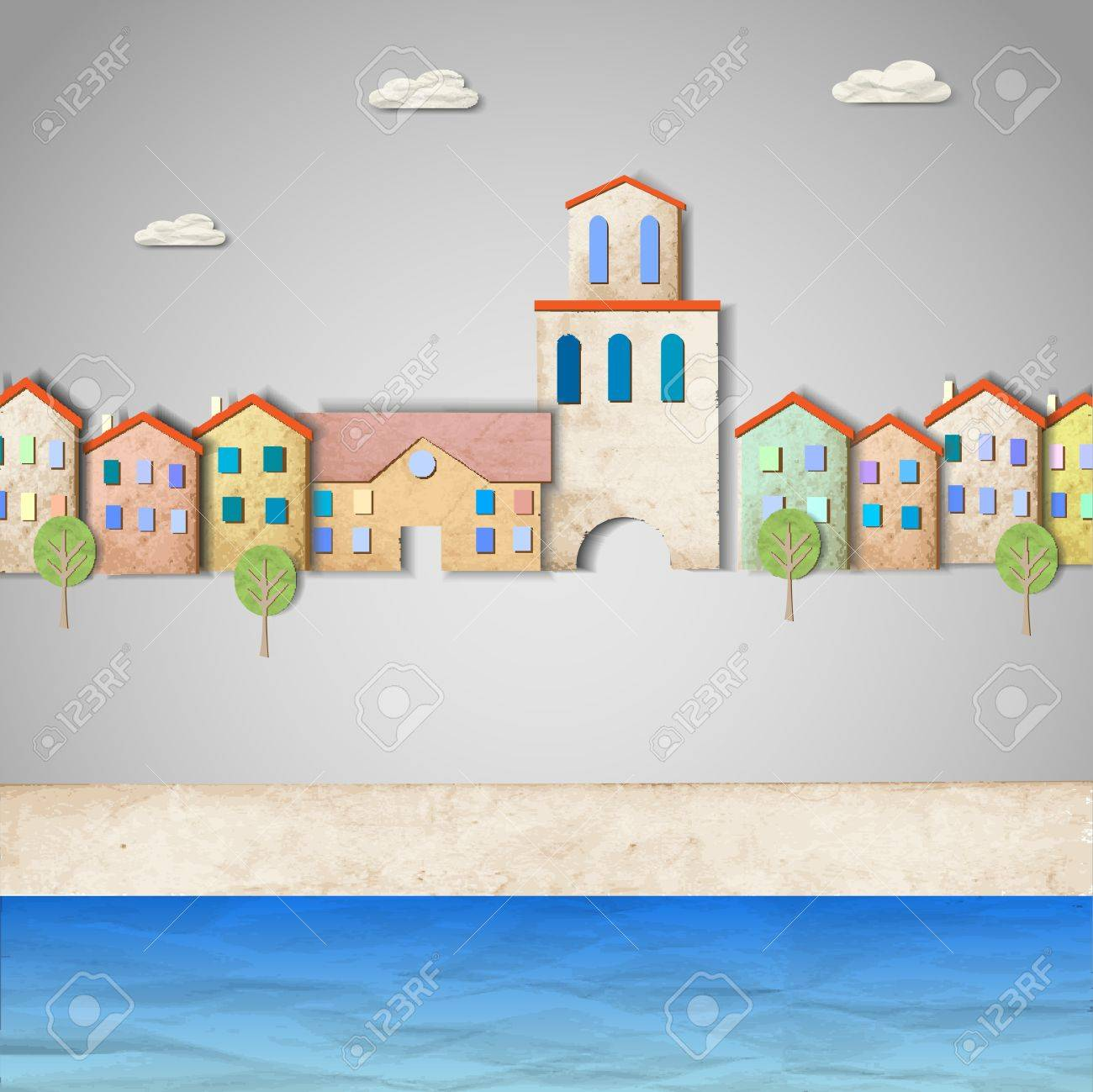 Townscape made from old paper Stock Vector - 13123613