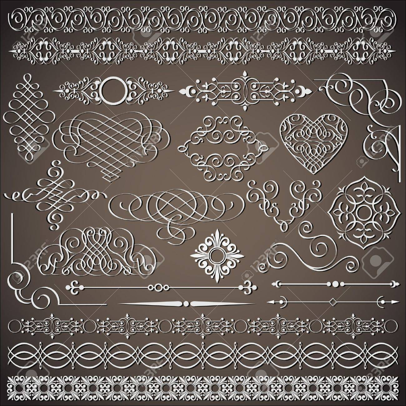 collection of vintage design elements Stock Vector - 13123622