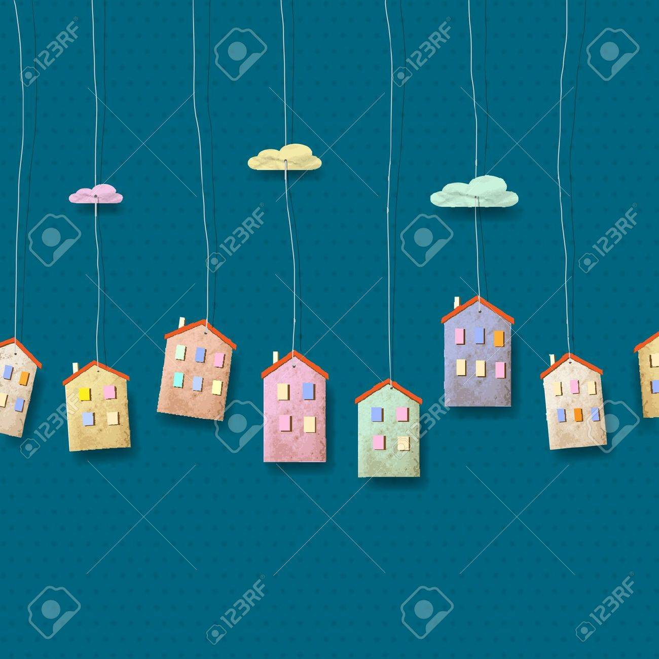 Homes made from paper on blue. Stock Vector - 13306240
