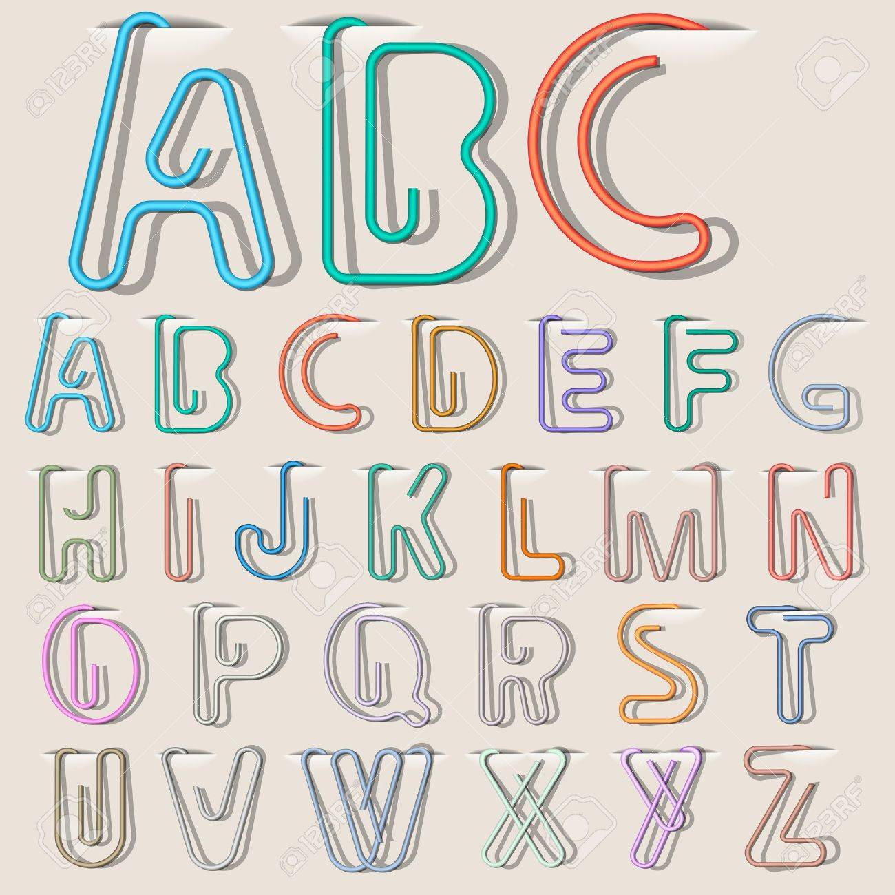 Clip Paper In Form Alphabet Letters. Vector Eps10 Royalty Free ...