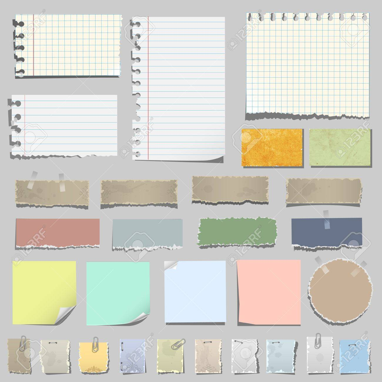 Vector set of various notes paper Stock Vector - 13930530
