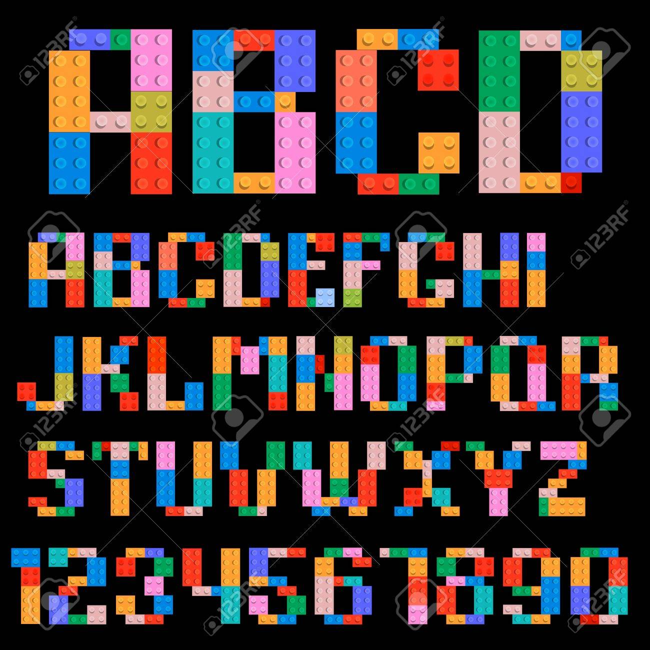 Alphabet and numbers made of plastic building blocks Stock Vector - 13930509