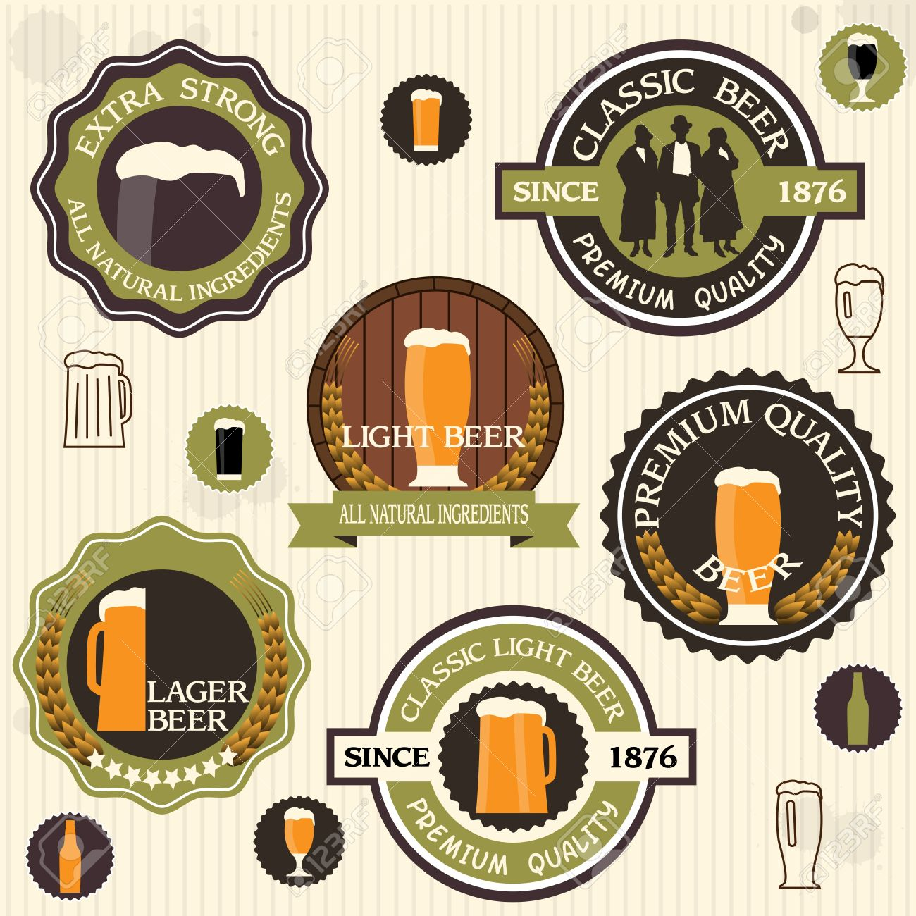 Collection of beer badges and labels in vintage style Stock Vector - 14124422