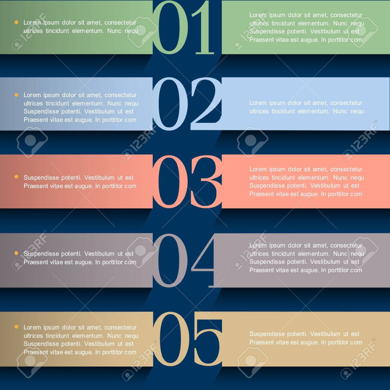 Paper numbered banners in pastel colors Stock Vector - 14258309