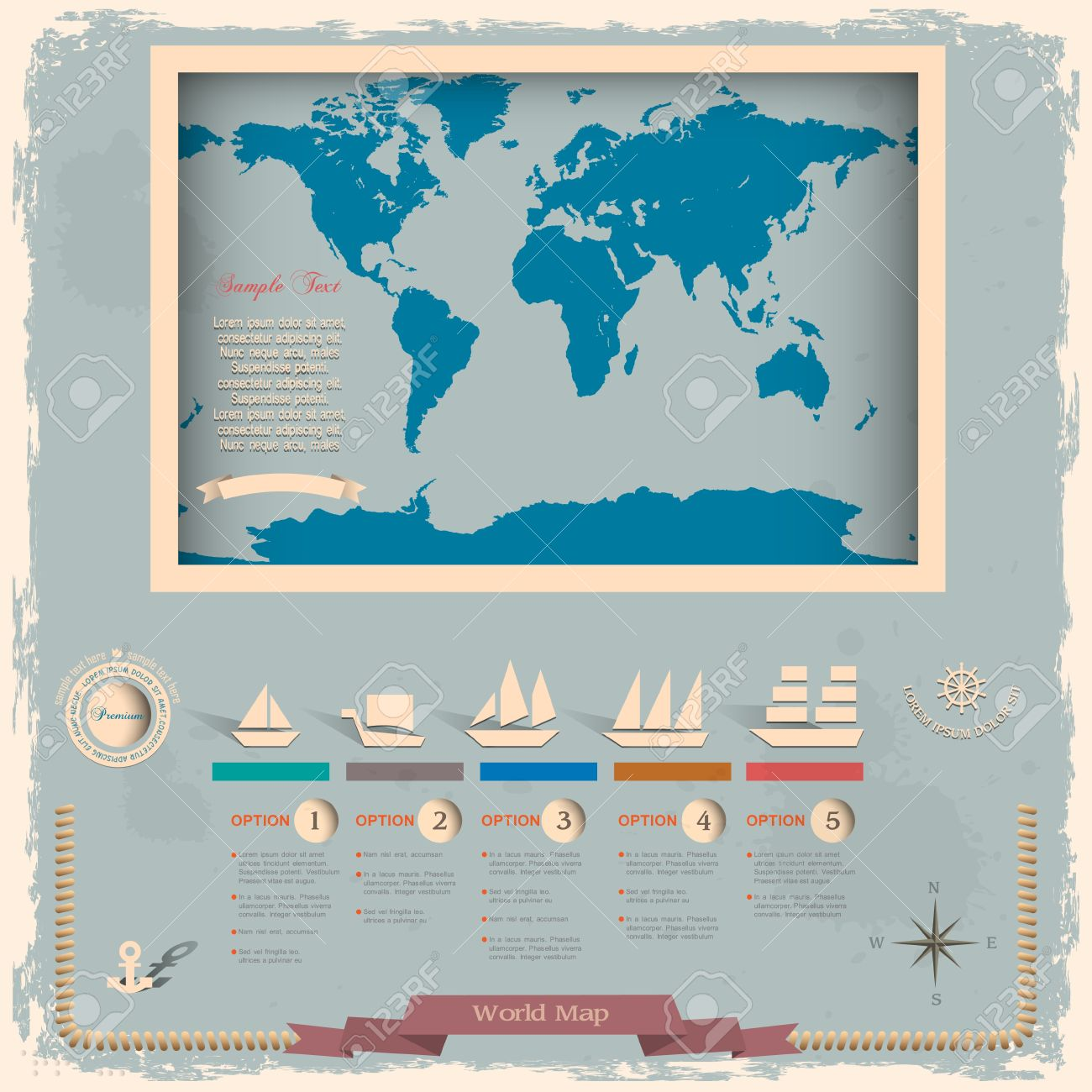Retro style world map with nautical design elements Stock Vector - 14370828