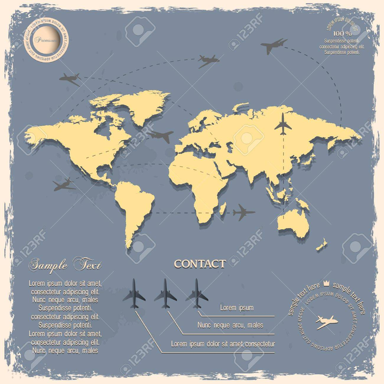 World map with aircraft for design in vintage style royalty free vector world map with aircraft for design in vintage style gumiabroncs Gallery