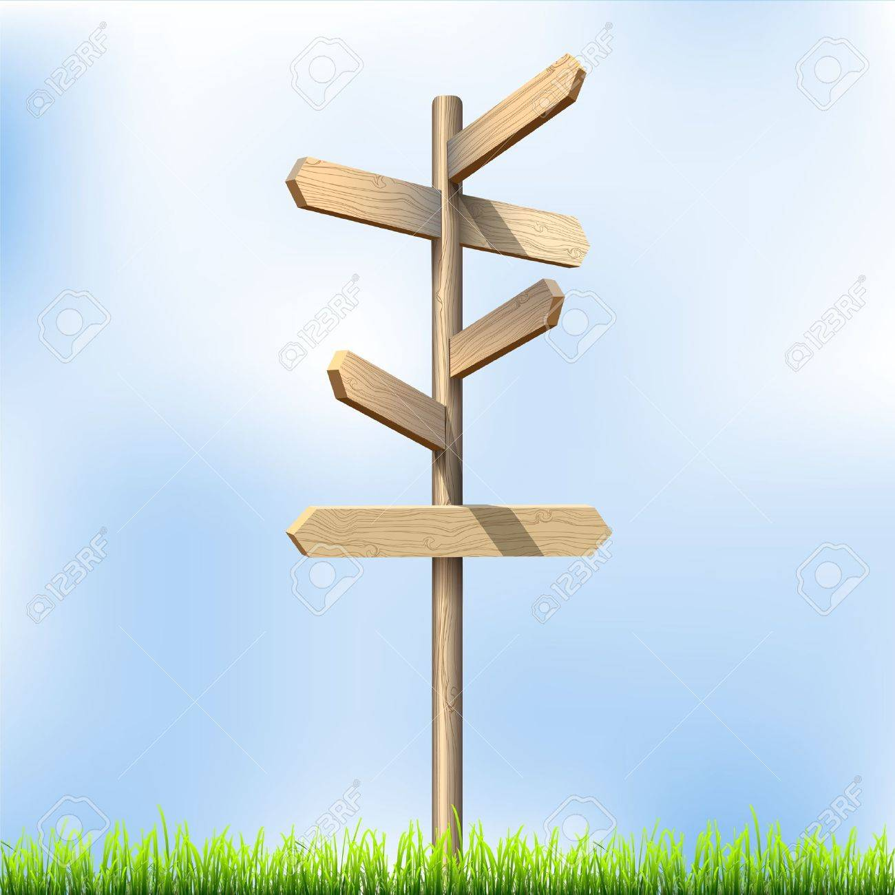 Direction road wooden signs illustration. - 14604160