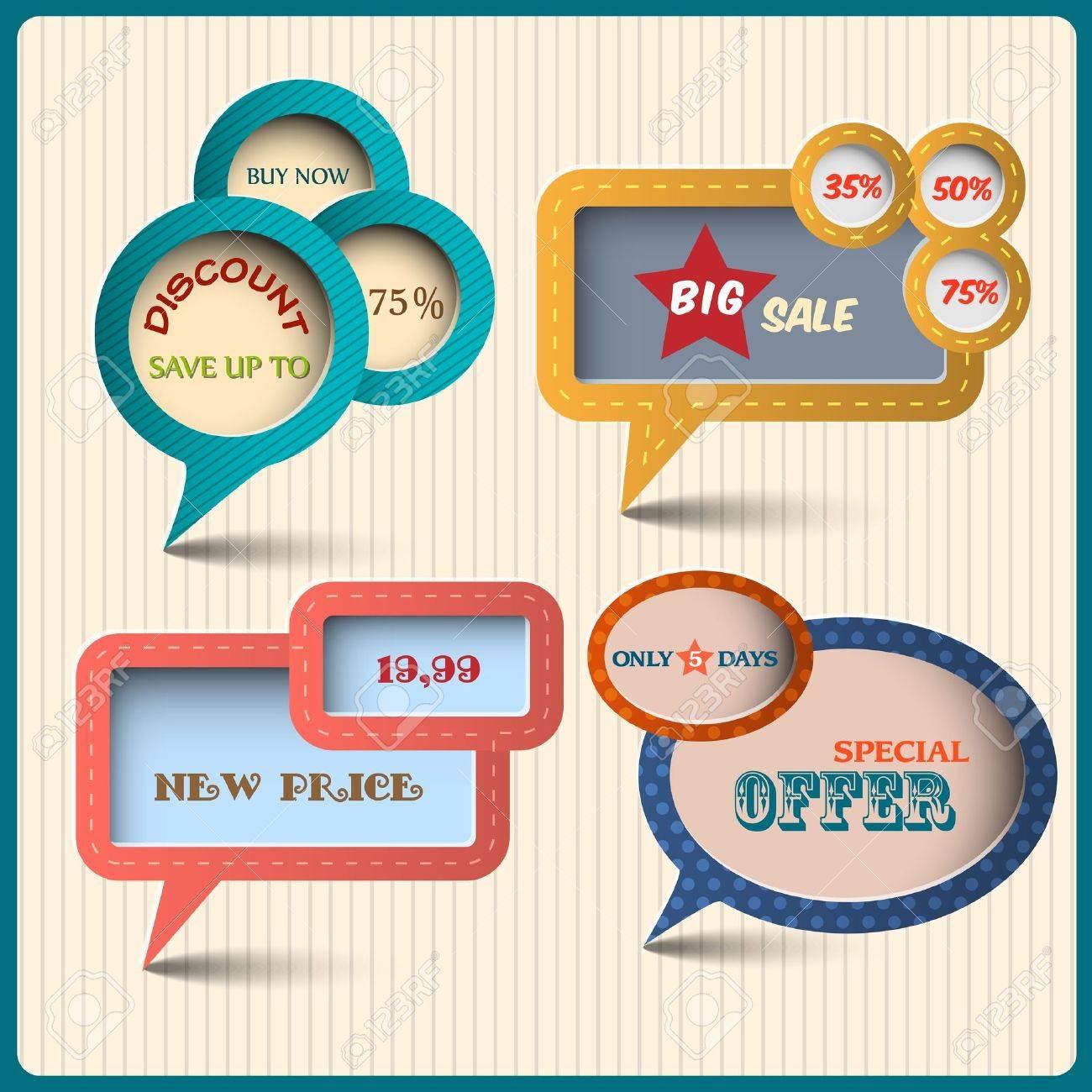 Four various bubbles for design. Retro style Stock Vector - 14604115