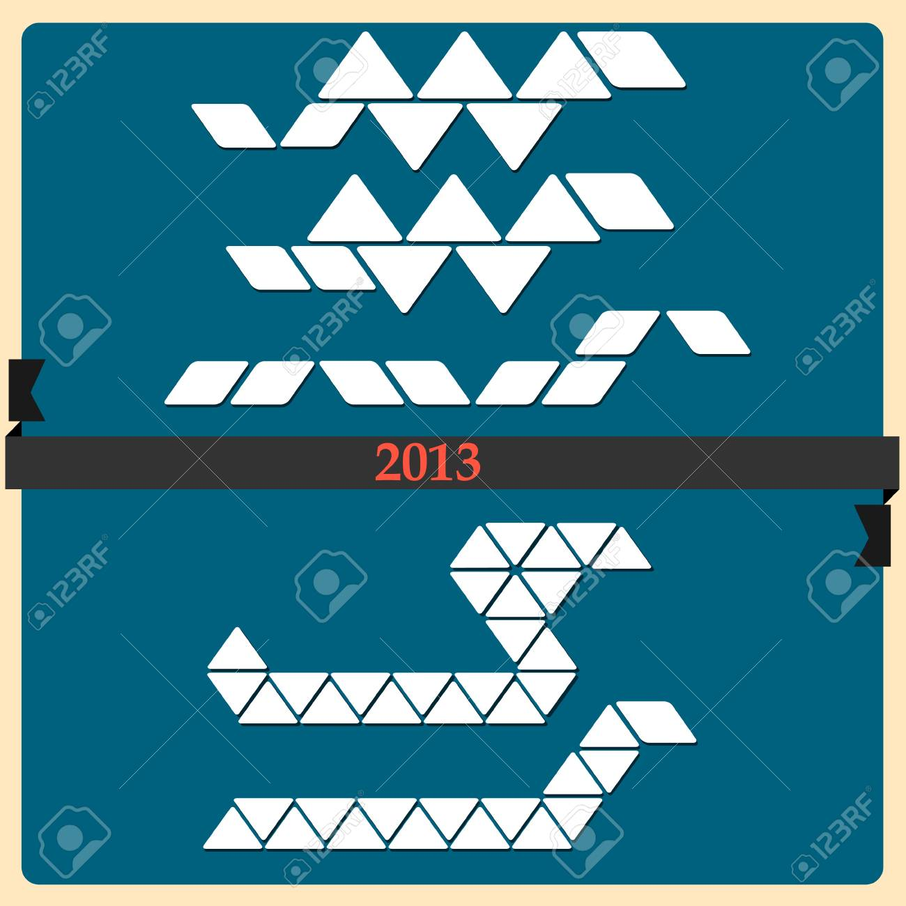 Stylized Snake - symbol 2013 new year  Vector set Stock Vector - 14659767