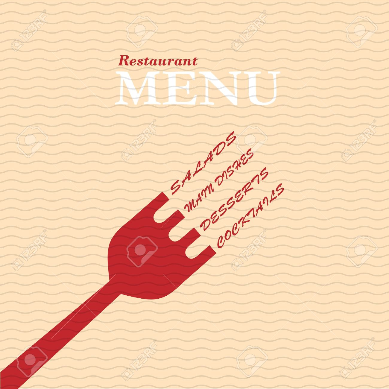 Restaurante Con Estilo Tarjeta De Menú. Vector De Plantilla ...