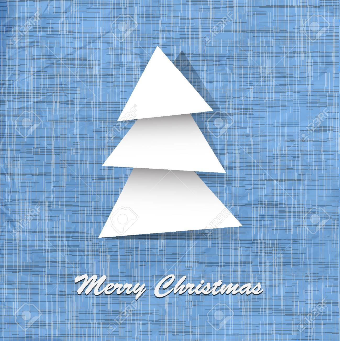Stylish vector postcard with paper christmas tree Stock Vector - 14659843