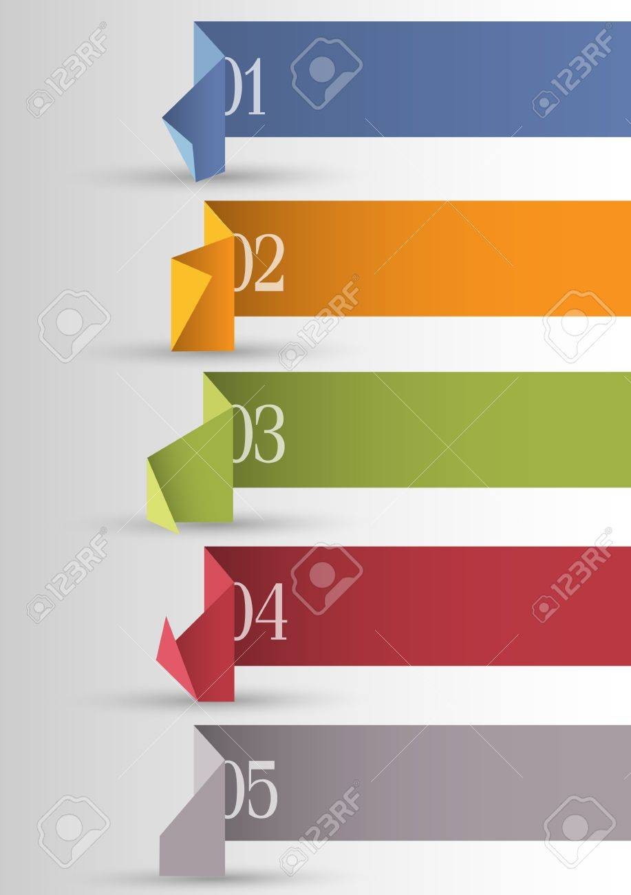 Origami paper numbered banners . Stock Vector - 14920014