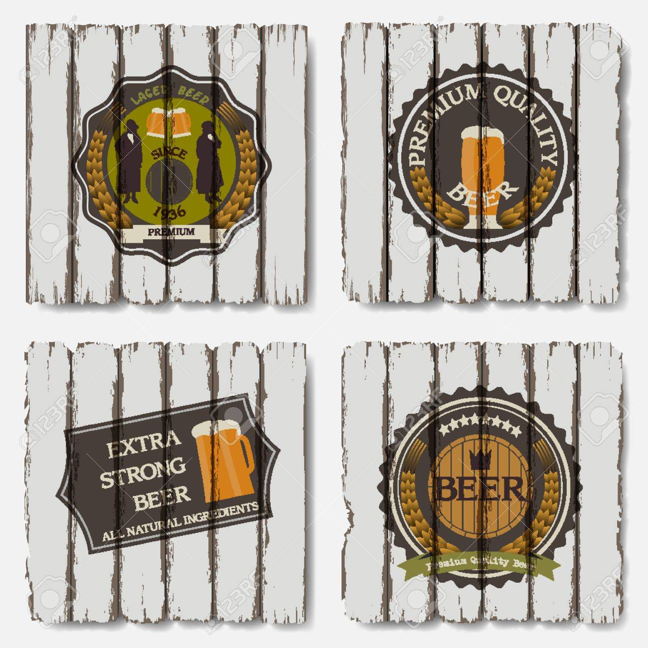 Beer badges and labels on old wood background Stock Vector - 14920874