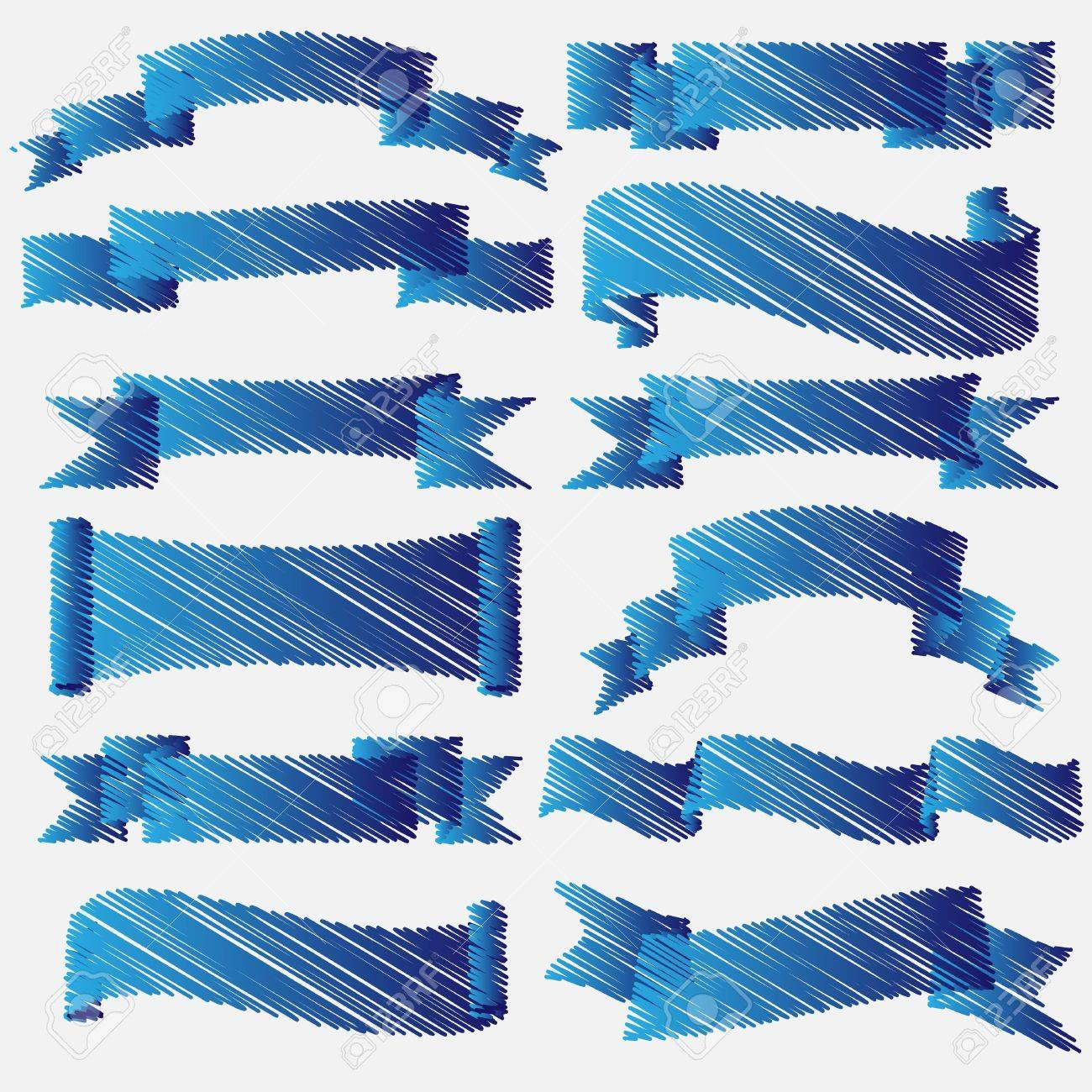 Blue scribbled ribbons and banners Vector set Stock Vector - 14994312