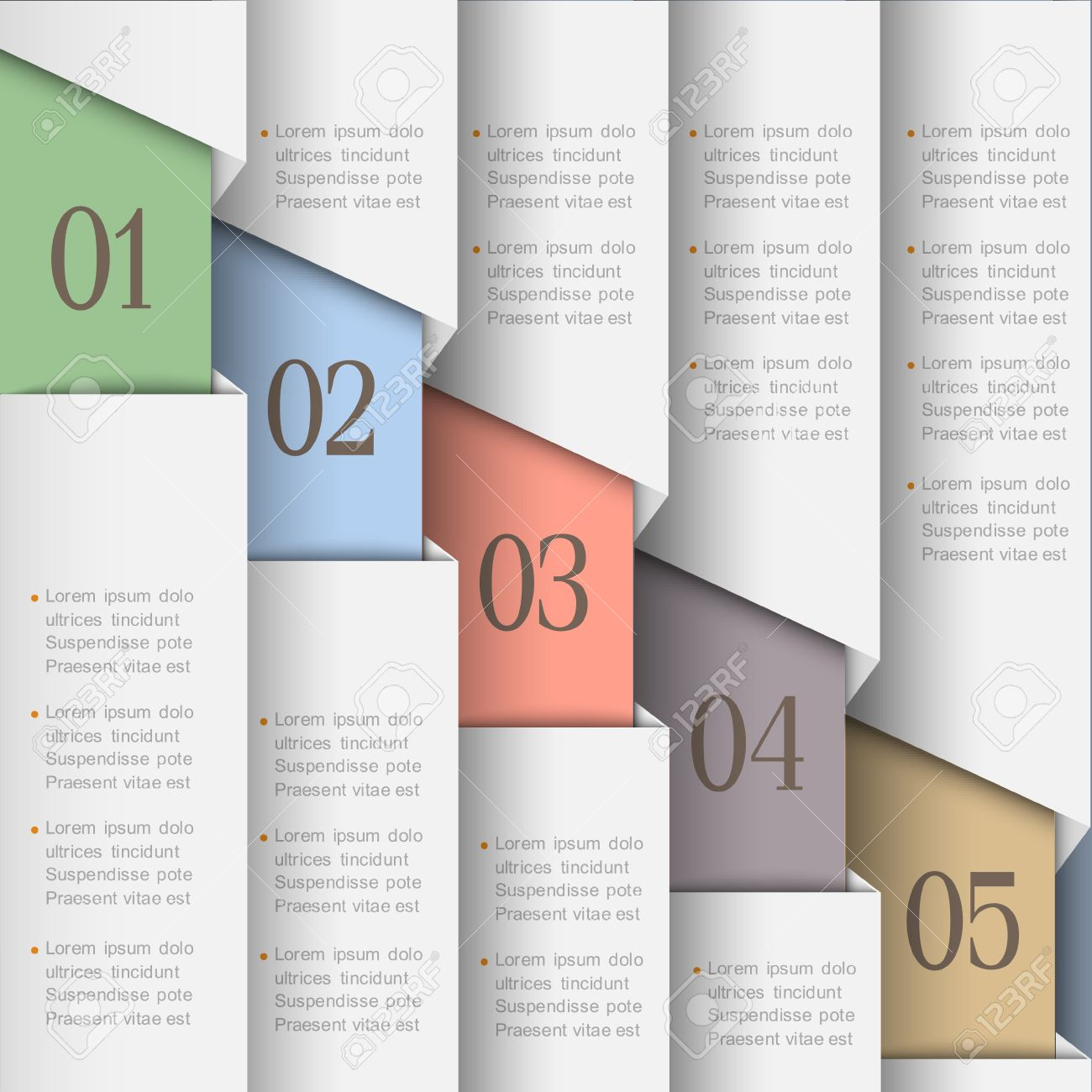 White Paper Numbered Banners Vector Design Template Royalty Free ...