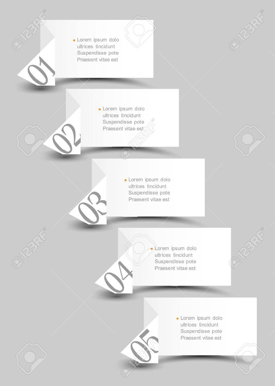 White origami paper numbered banners design template Stock Vector - 15064015