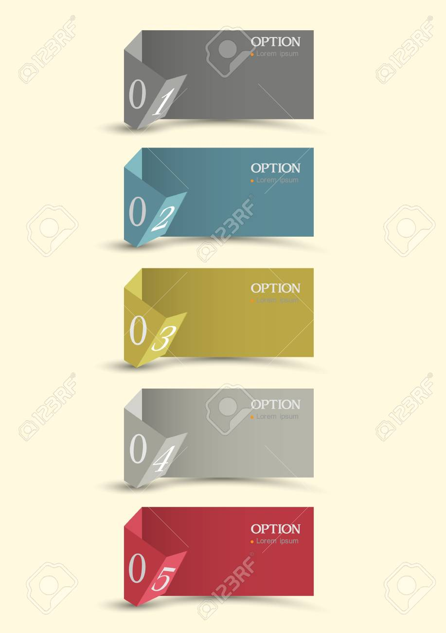 Origami paper numbered banners  Creative design template Stock Vector - 15491782