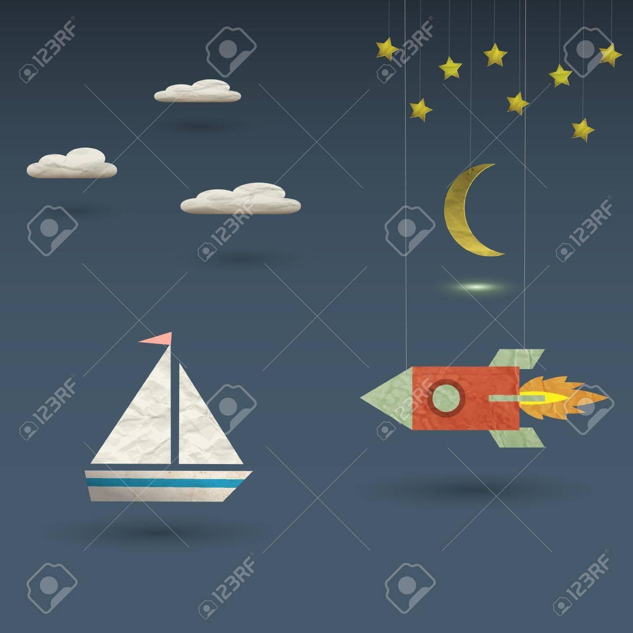 Retro rocket and sailboat Stock Vector - 15545321