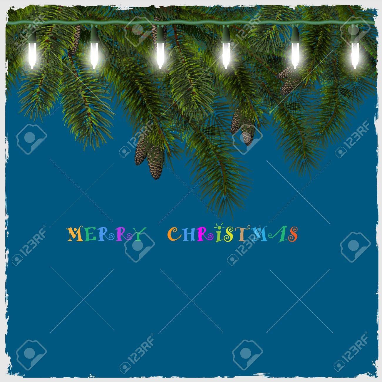 Christmas card with fir tree branch and lights. Vector illustration Stock Vector - 15931388