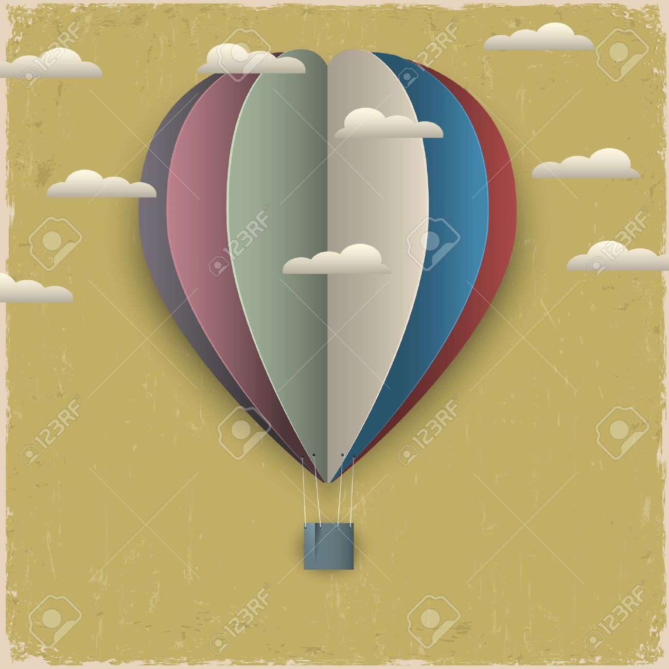 Retro hot air balloon and clouds from paper. Creative vector eps 10 Stock Vector - 15931410