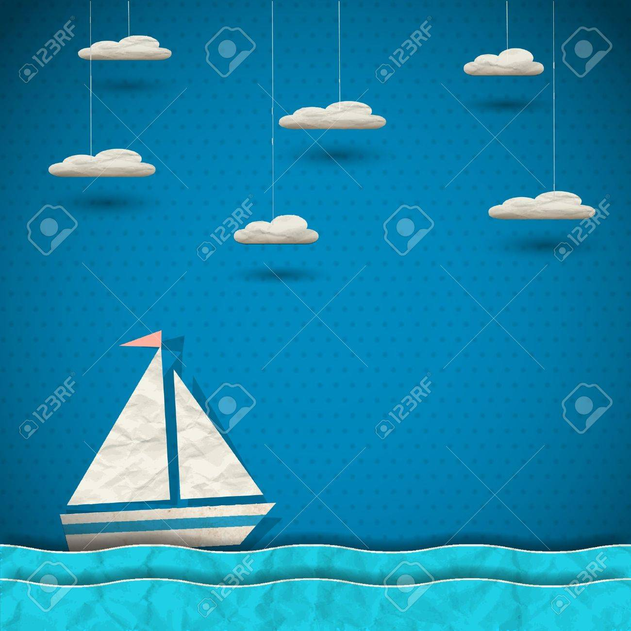 Scrapbook paper clouds - Sailing Boat And Clouds Paper Art Stock Vector 16852928