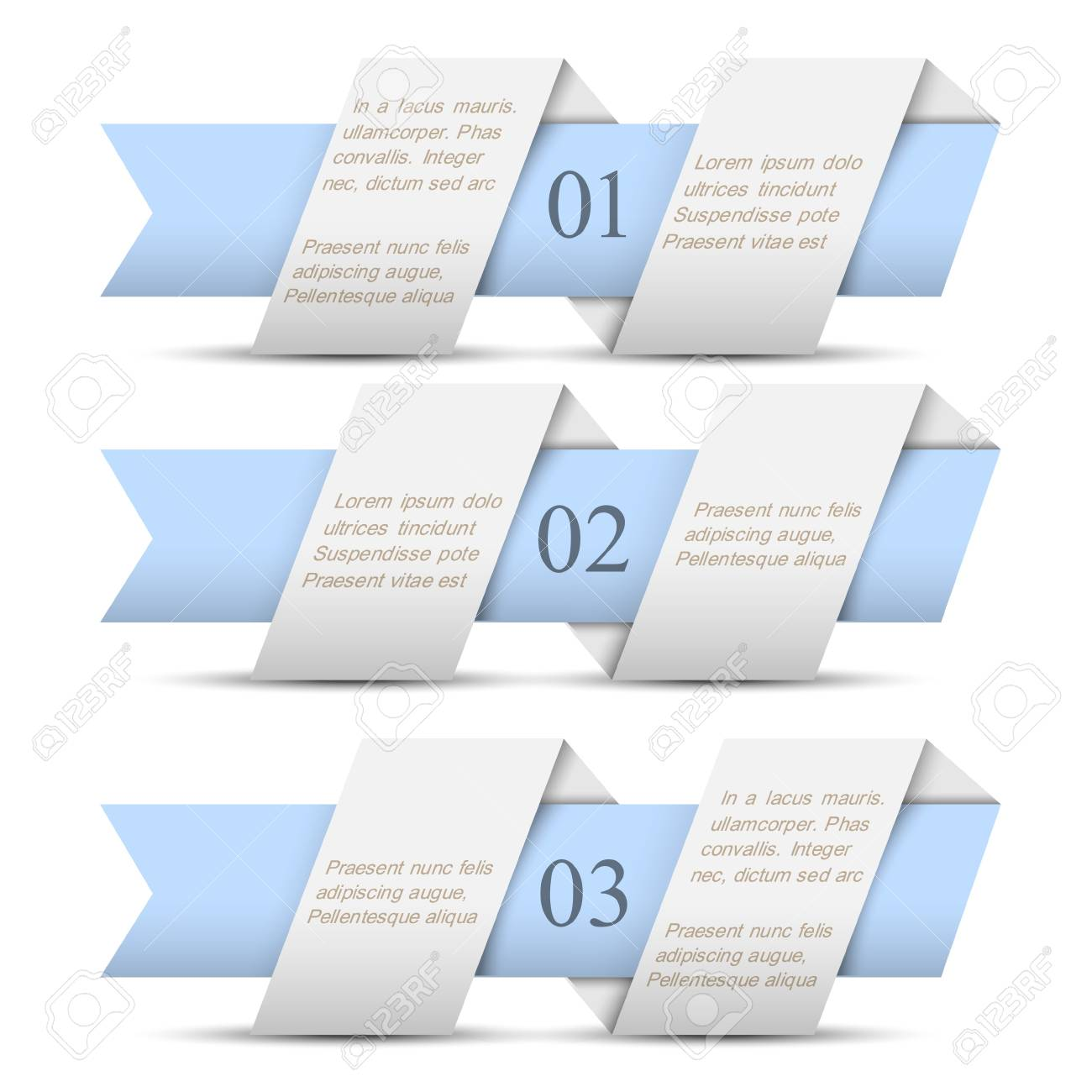 Three horizontal origami paper numbered banners.Trendy design template Stock Vector - 16852763