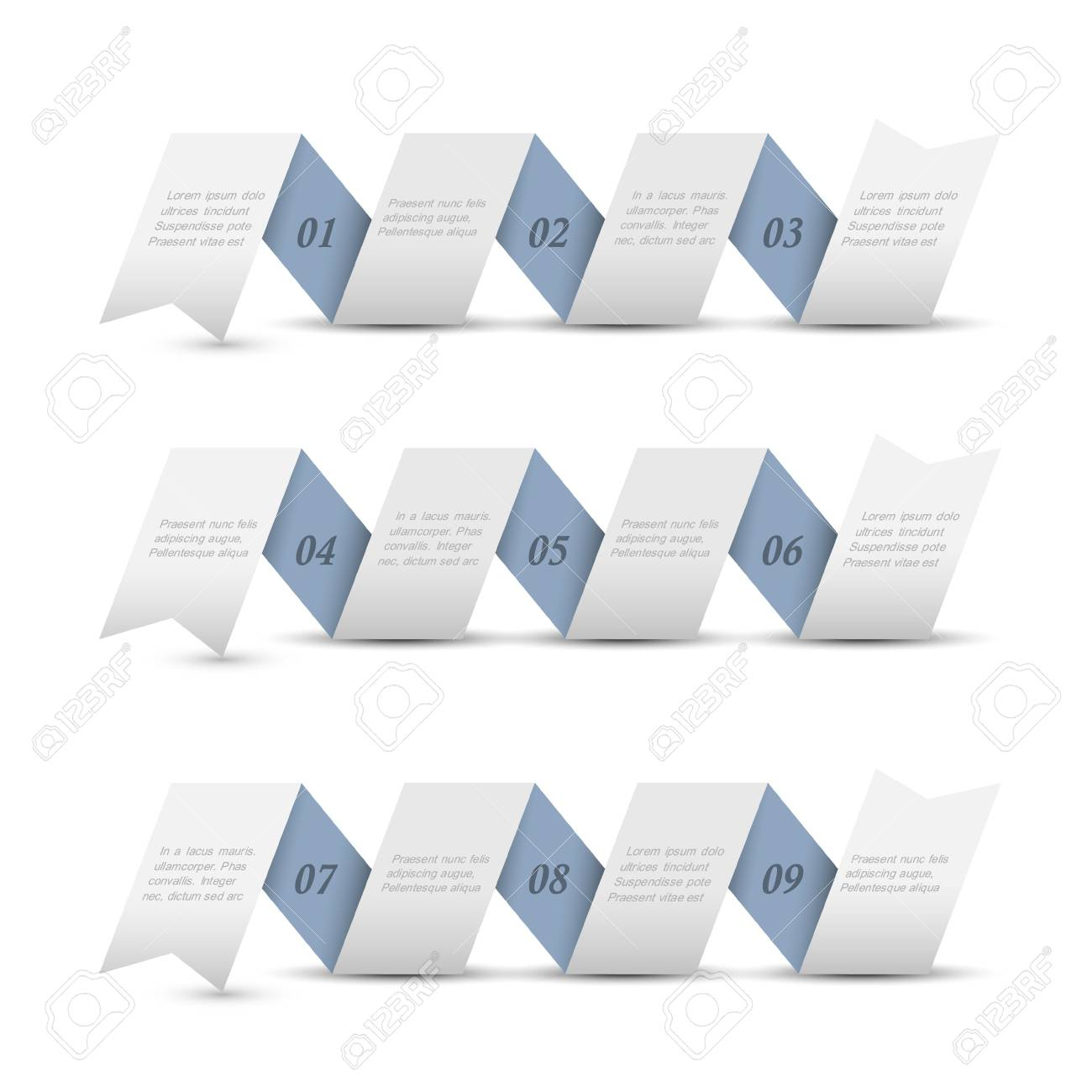 Trendy origami paper numbered banners.design template Stock Vector - 16852735