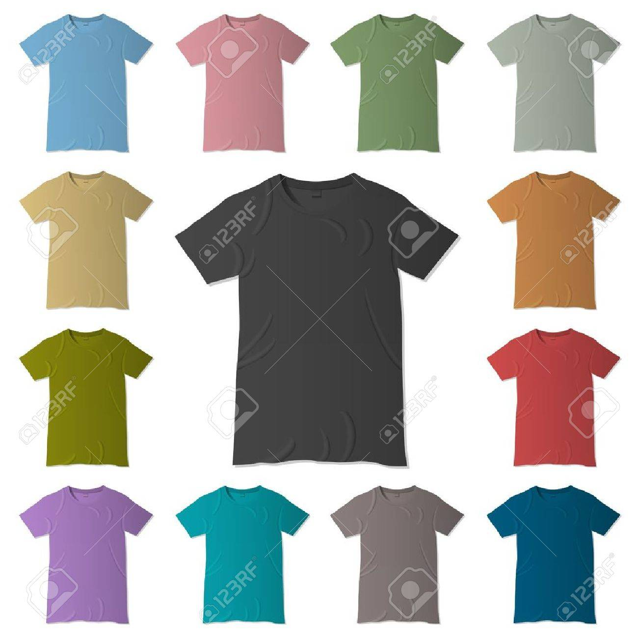 Design t shirt template free - T Shirt Design Templates In Various Colors Royalty Free Cliparts