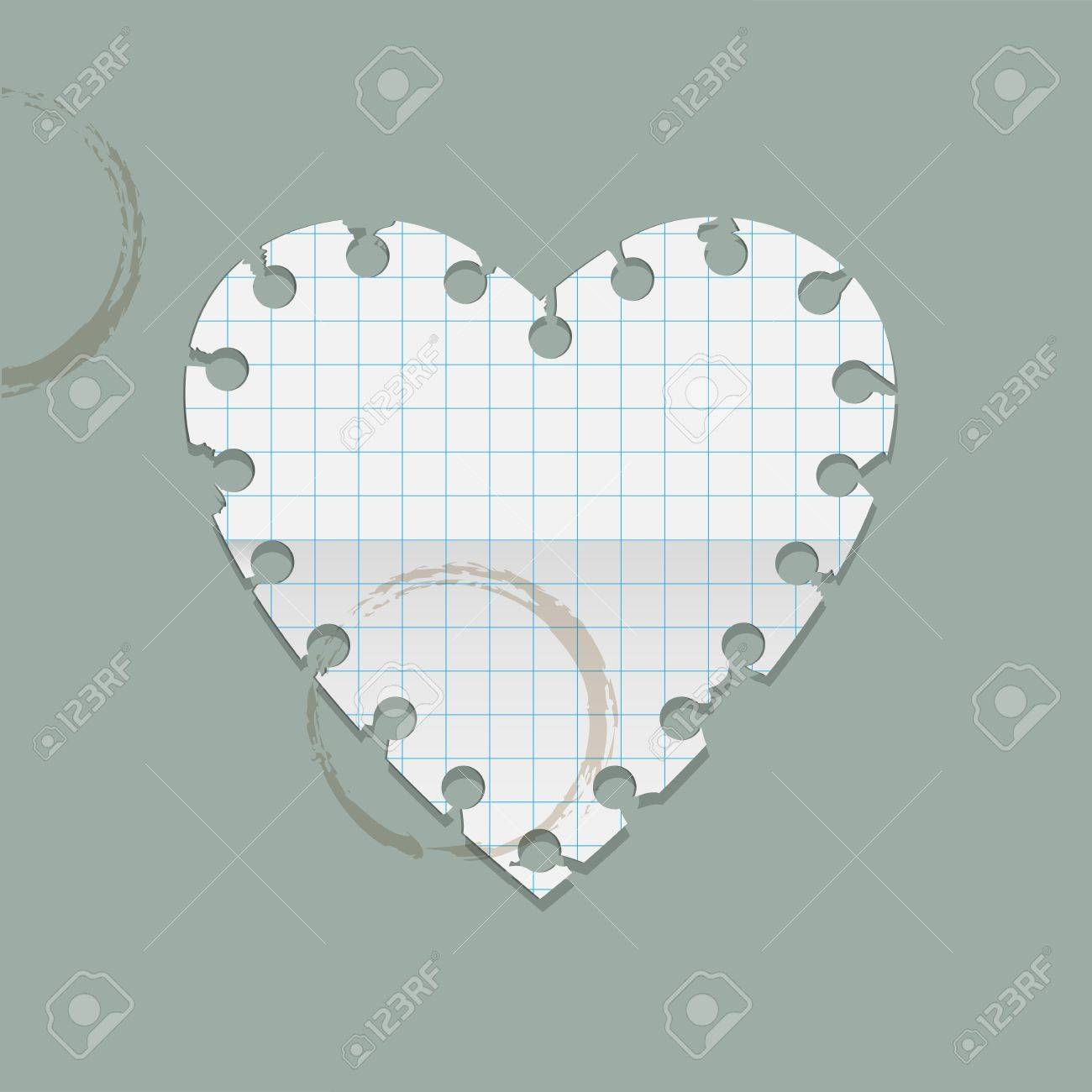 Heart paper note with coffee stains  Vector illustration Stock Vector - 17338480