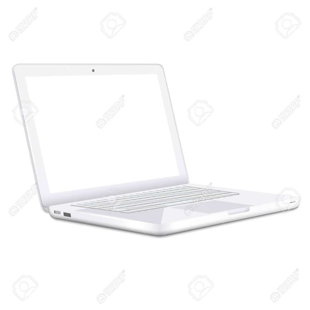 Modern white Laptop isolated on white background  Vector Stock Vector - 17338500