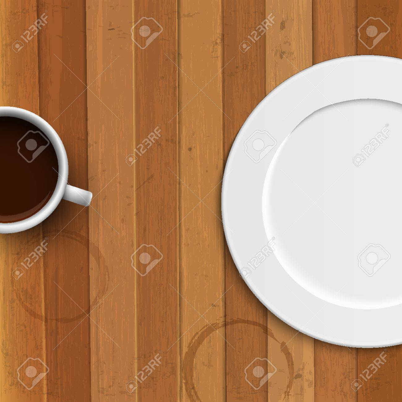 Dinner plate and coffee cup on wooden background. Vector illustration Stock Vector - 17755134