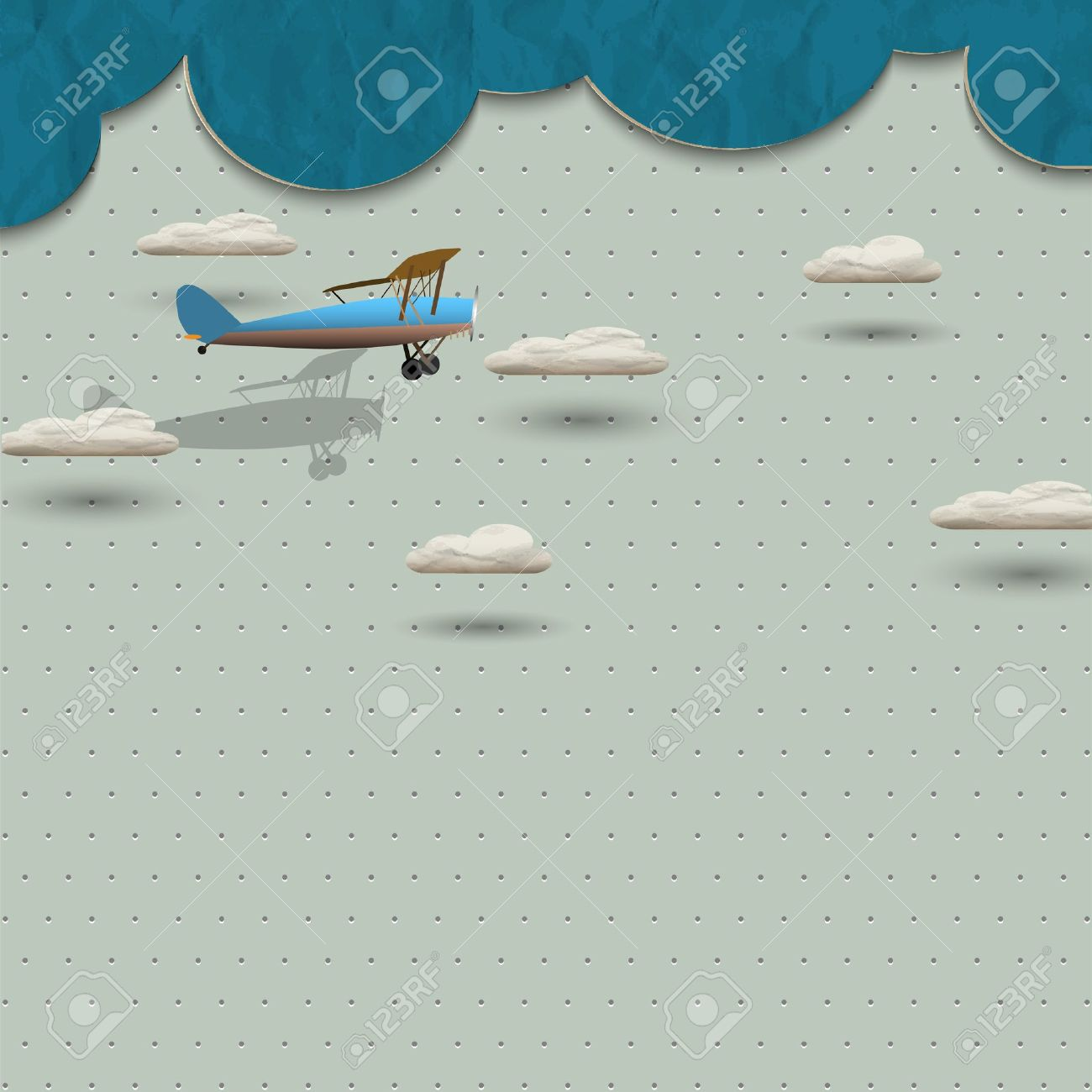 Airplane and clouds from paper. Vector paper-art - 18416660