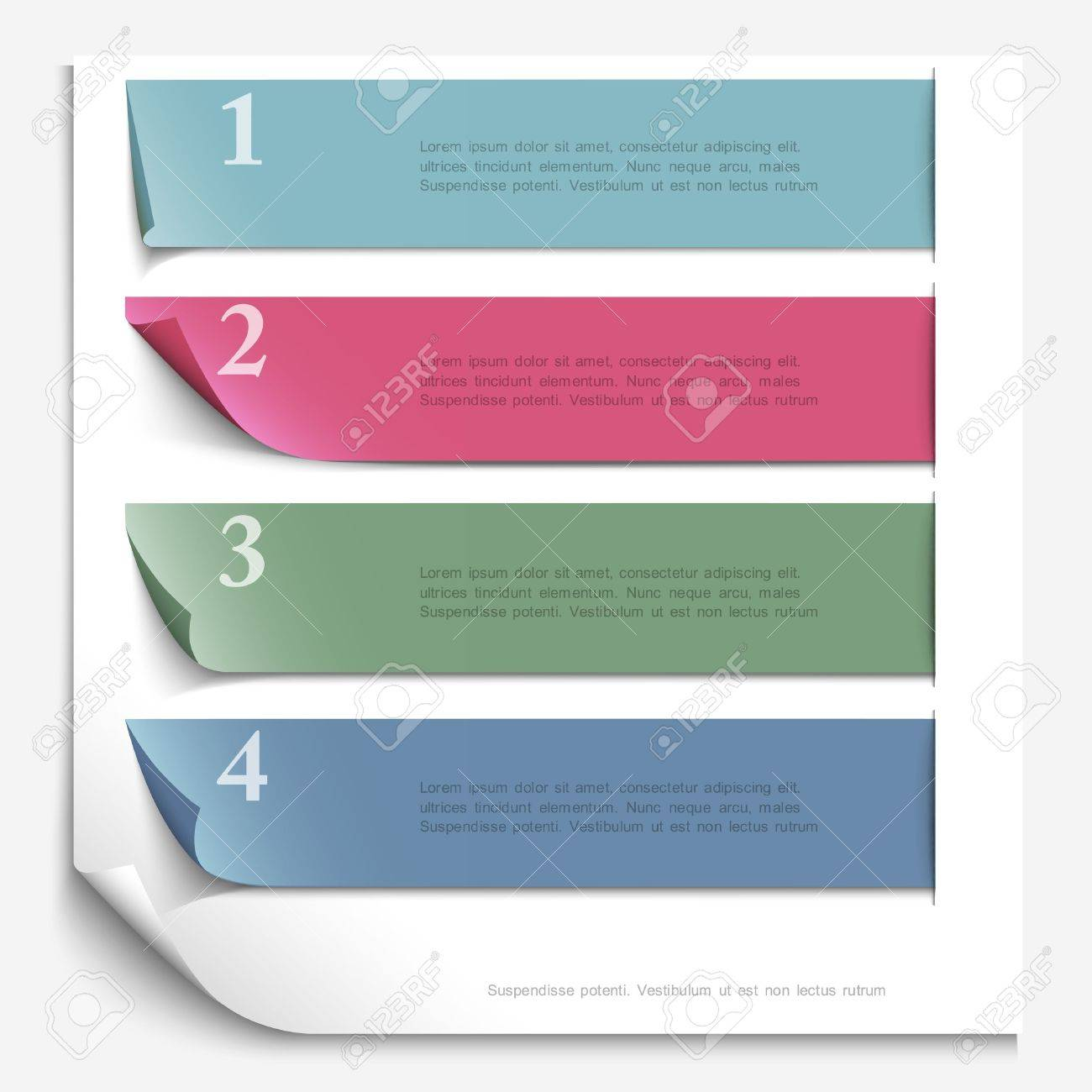 Paper design template for numbered paper banners,website layout Stock Vector - 18726789