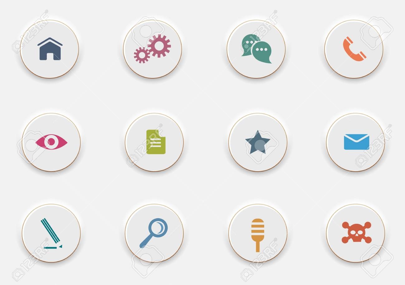 Computer Icons on round white buttons. Stock Vector - 19578868