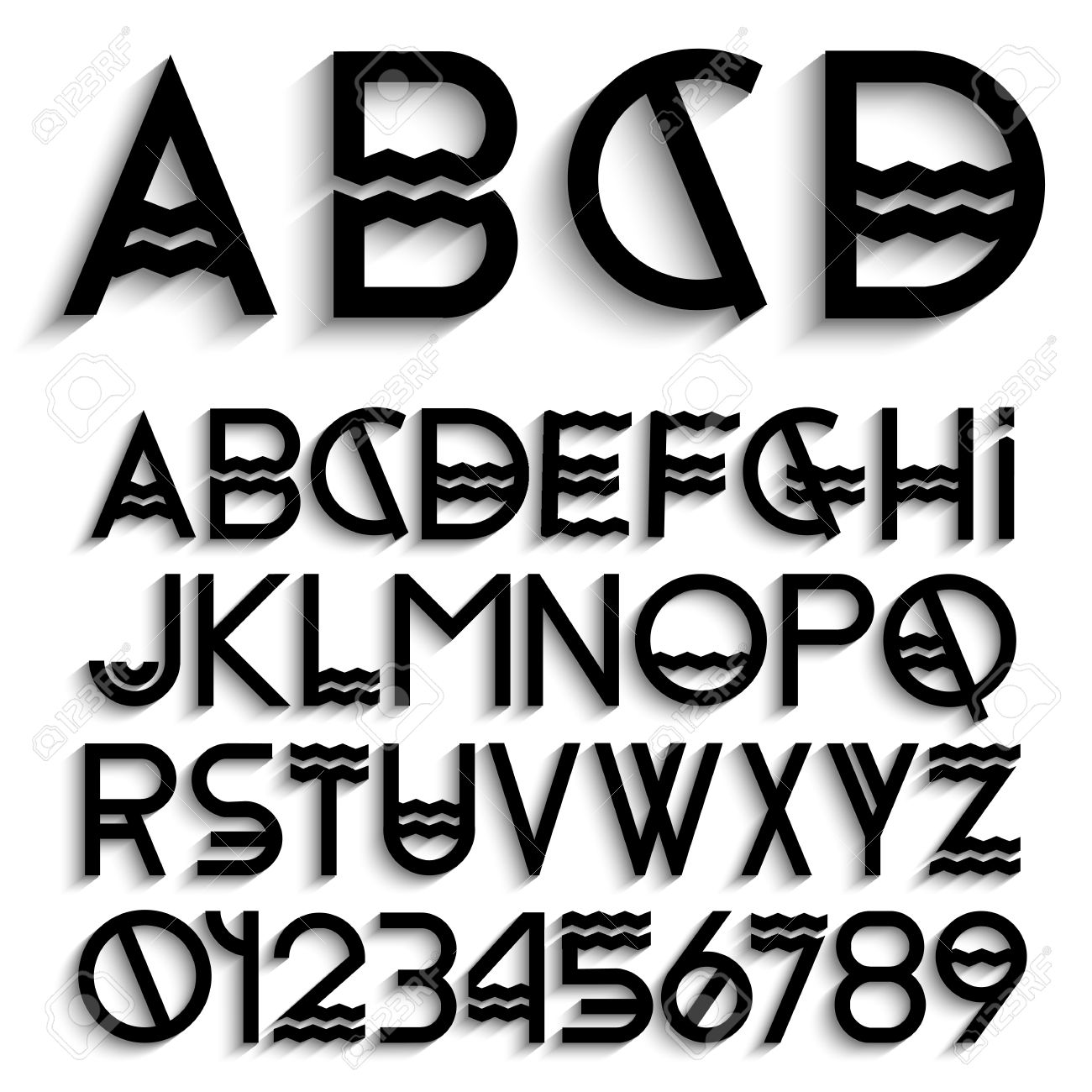 Alphabet letters with shadow and numbers. Vector set Stock Vector - 20175576
