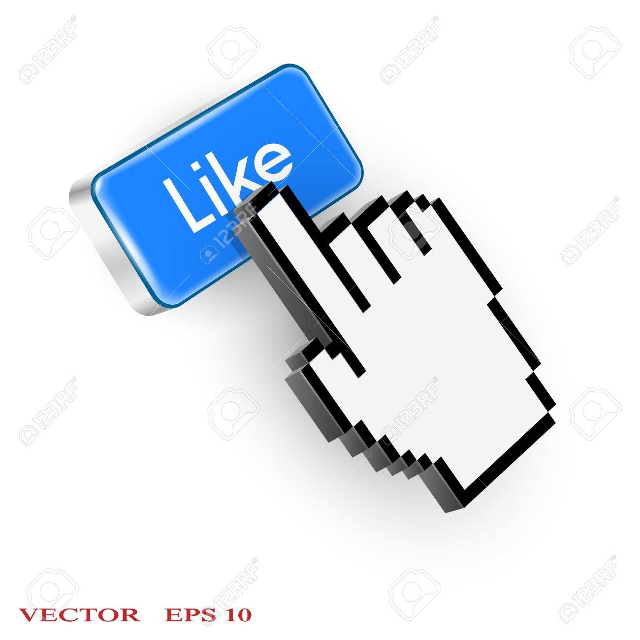 Blue button with Like text and hand cursor. Vector EPS10 Stock Vector - 20363116
