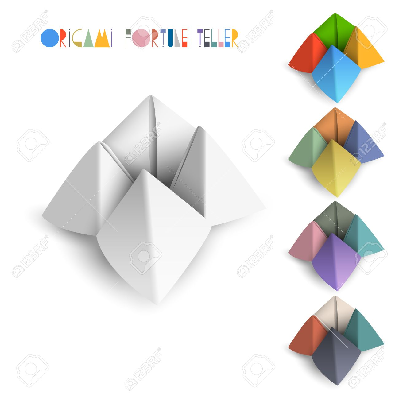 Colorful origami fortune teller vector set royalty free cliparts colorful origami fortune teller vector set stock vector 22681612 jeuxipadfo Images