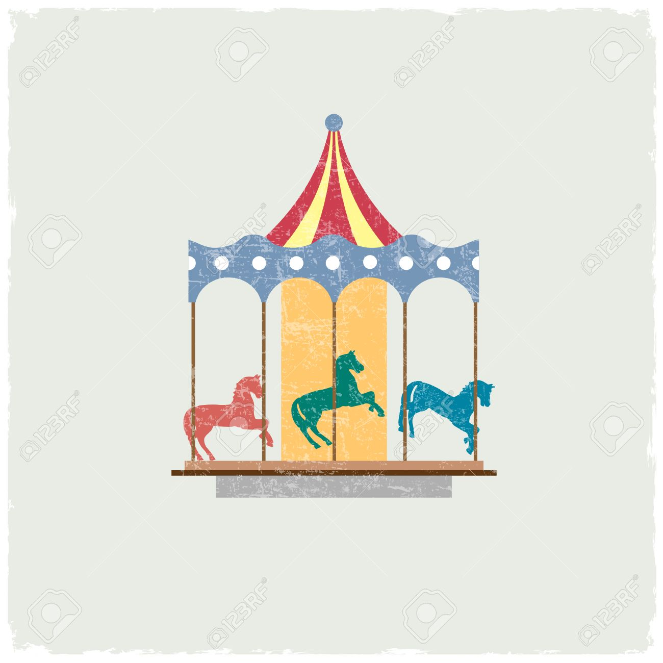 Vintage merry-go-round with horses. Stock Vector - 23660107