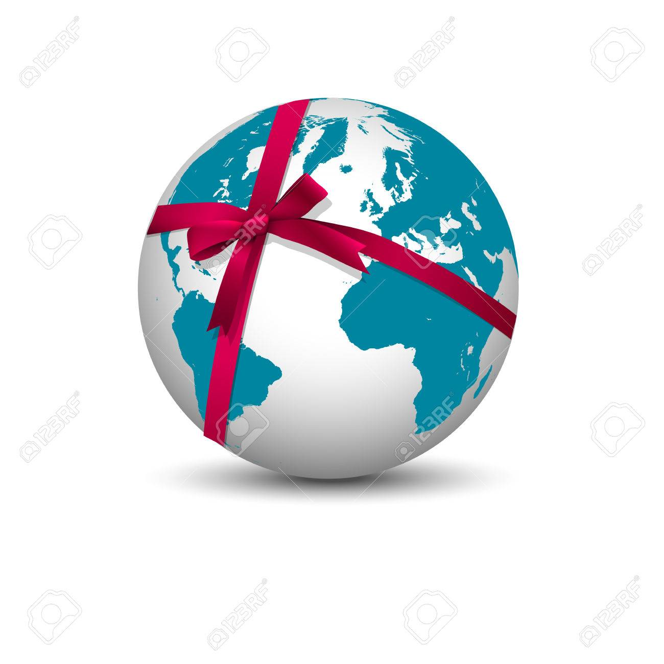 Planet Earth with bow red ribbon  Vector Stock Vector - 24901732