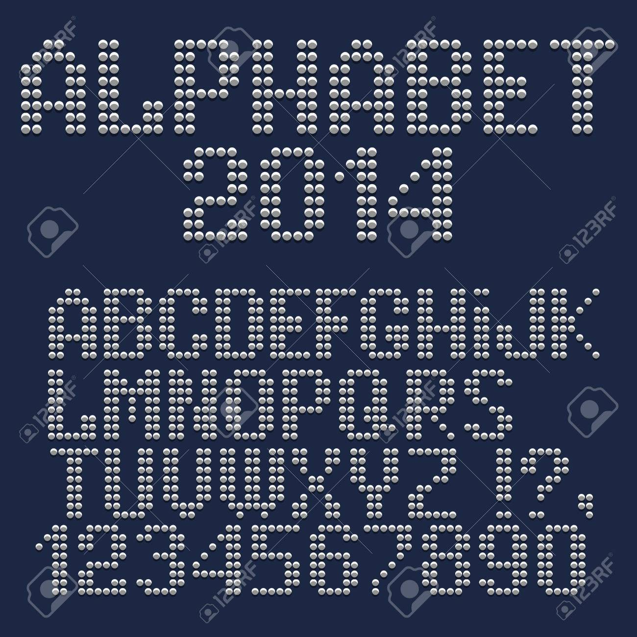 3d dotted font, numbers and punctuation marks  Vector set