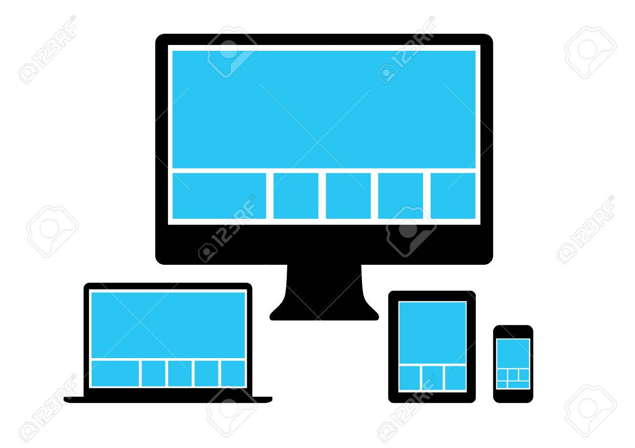 Web-Design In Einfache Symbole Elektronische Geräte. Vektor-Set ...