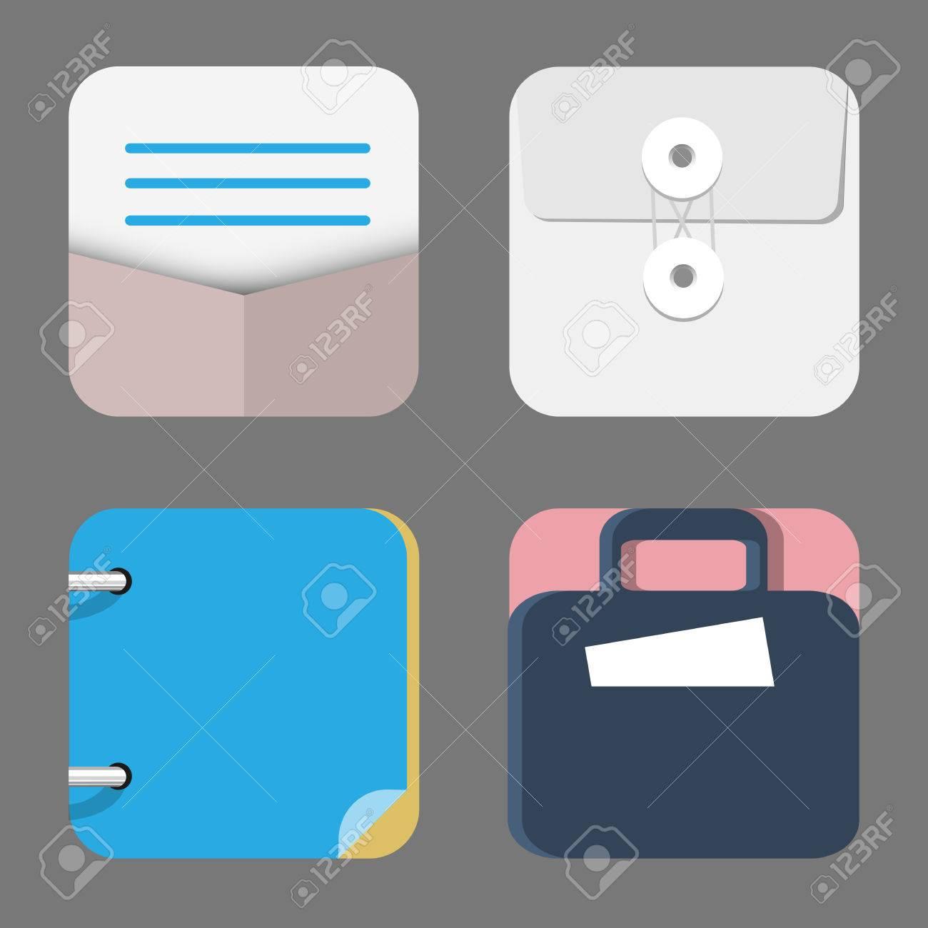 Vier Flach Icons Von Web Und Mobile Anwendungen Objekte Business