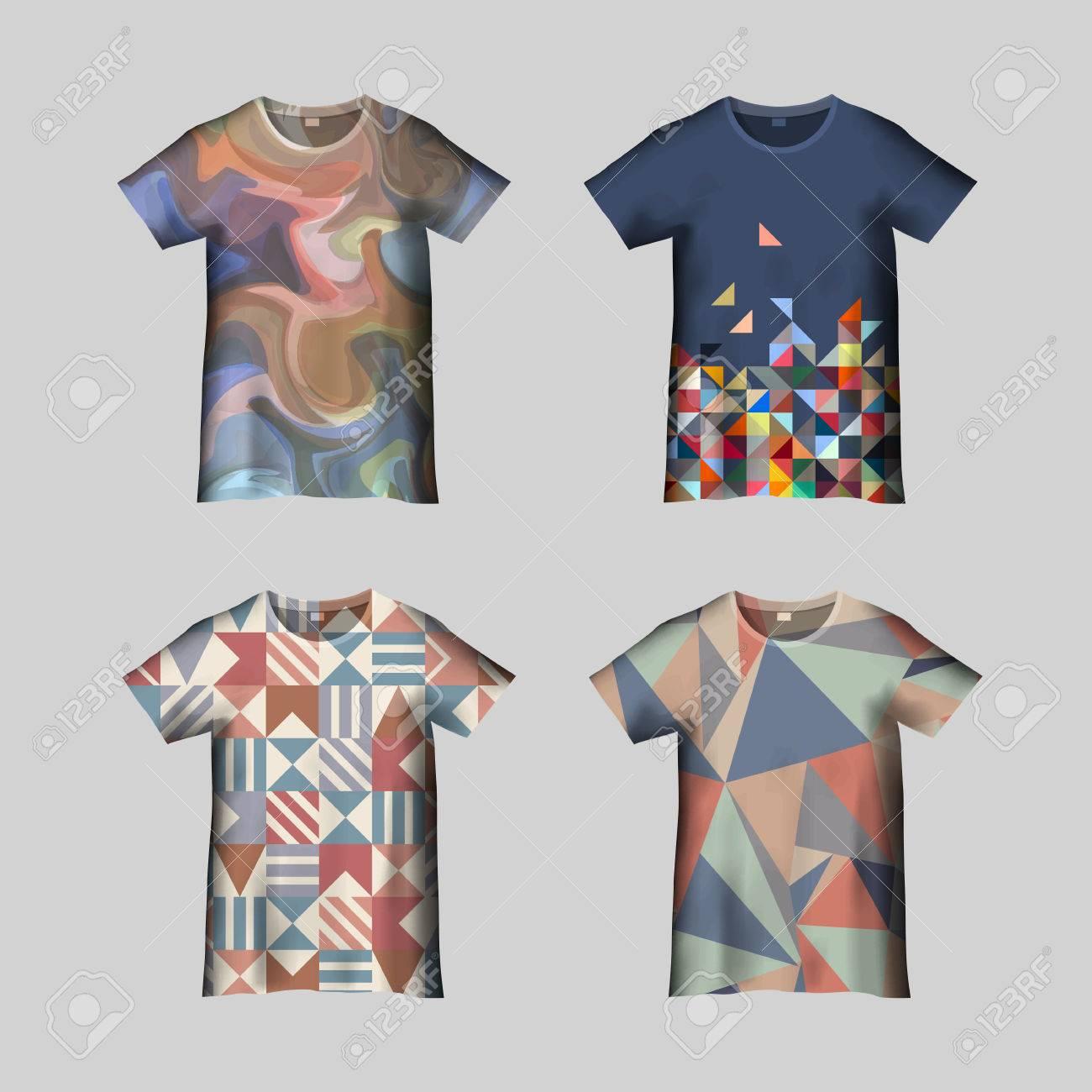 Shirt design vector pack - T Shirt Design Print Design T Shirt Template With Abstract Pattern