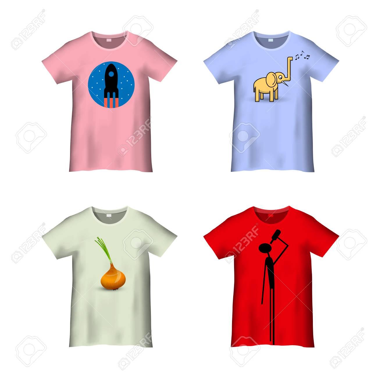 T-Shirt-Vorlage Mit Verschiedenen Drucken - Variation 4. Vektor-Set ...