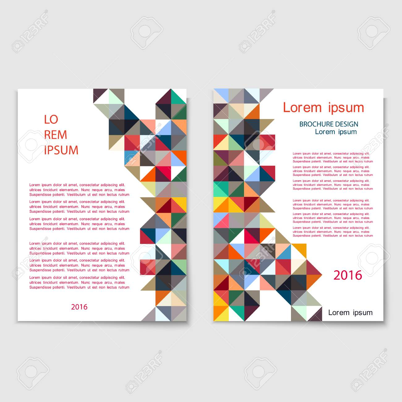 modern brochure cover template with colorful mosaic geometric