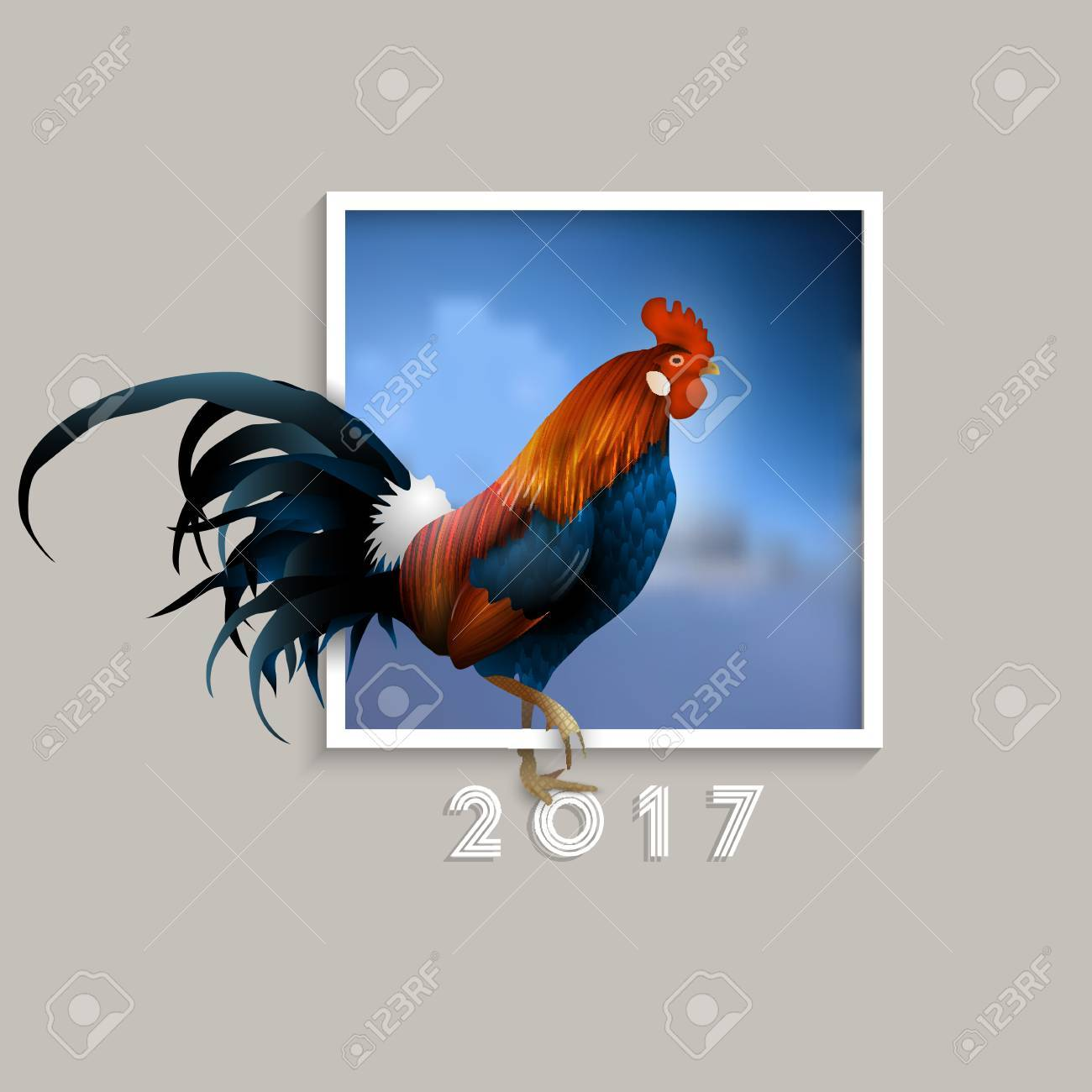 Rooster symbol of 2017 with blurred blue background in frame rooster symbol of 2017 with blurred blue background in frame chinese zodiac sign biocorpaavc