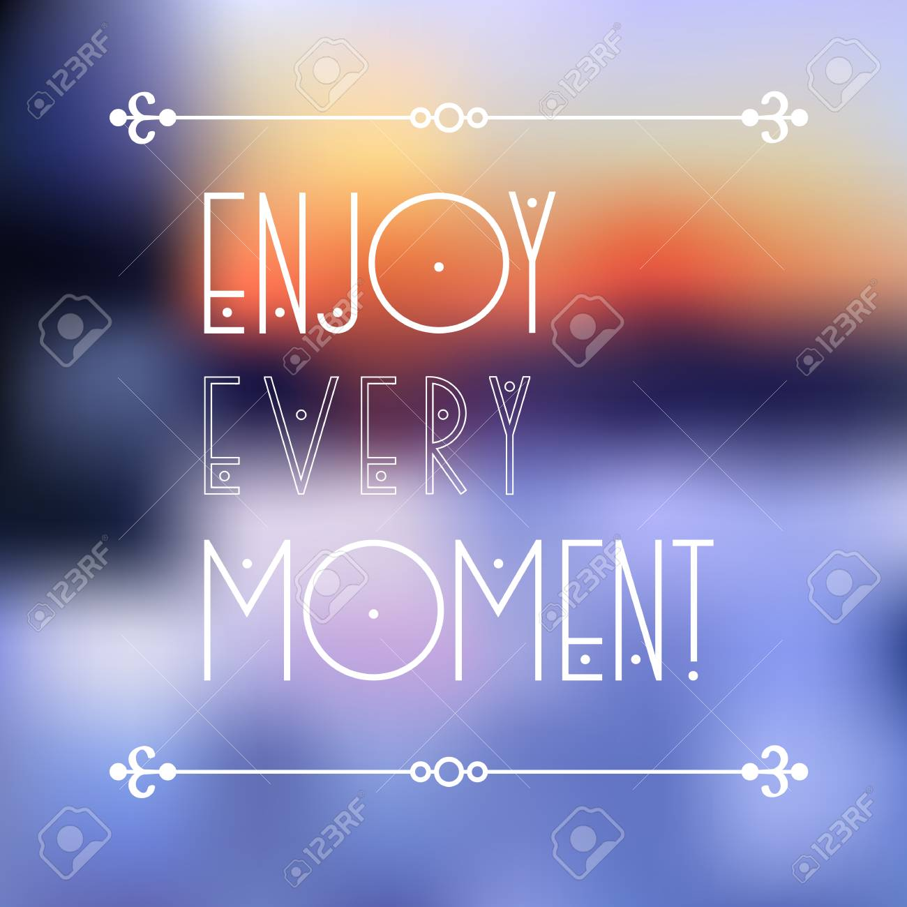 Beautiful Vector Background With Quote   Enjoy Every Moment. Evening Blue  Landscape. Creative Graphic